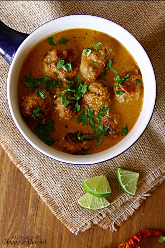 Healthy Chicken Meatballs In Thai Peanut Red Curry