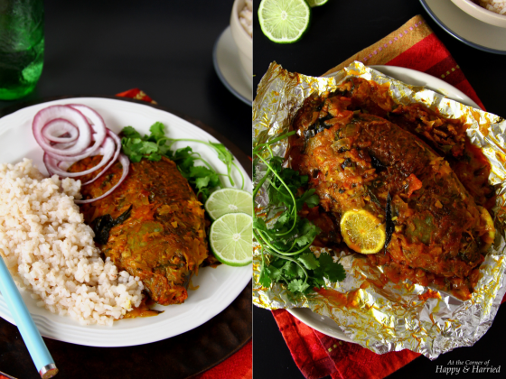 Meen Pollichathu {Foil-Wrapped and Oven-Baked Fish With Indian Spices}JPG