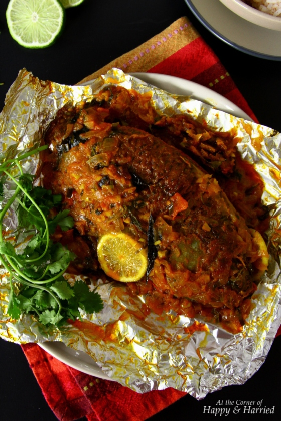 Meen Pollichathu {Foil-Wrapped Oven-Baked Fish With Indian Spices}
