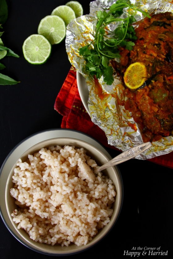 Red Matta Rice And Indian Baked Fish (Pollicha Meen)