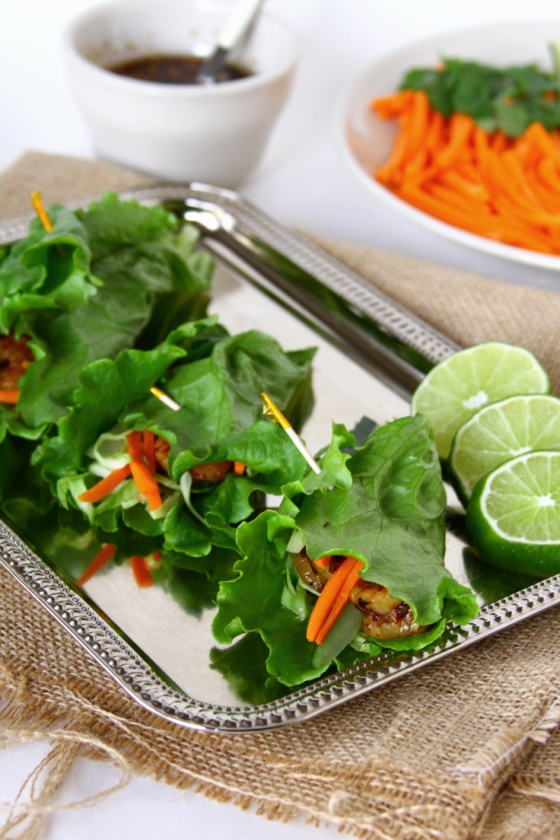 Shrimp Lettuce Wraps With Vegetables, Lime And Cilantro