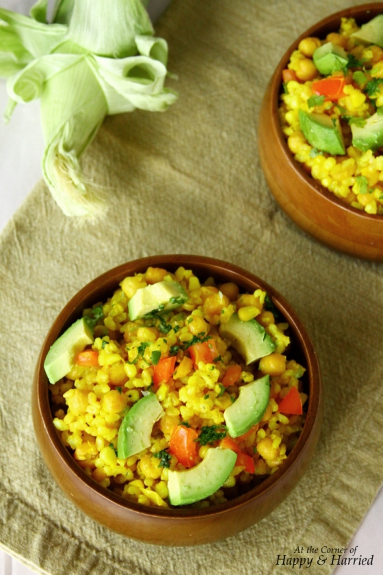 Warm Brown Rice Salad With A Lemon Dressing, Choickpeas, Corn, Tomatoes & Avacado