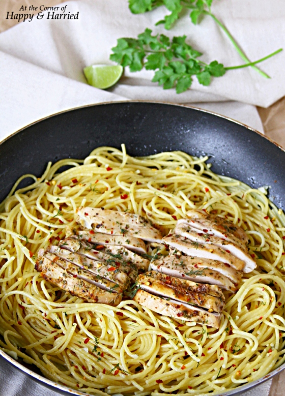 Buttery Garlic Pasta Served With Herbed Chicken