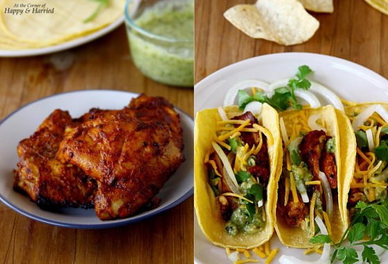 Spicy Chicken Tacos {With Roasted Tomatillo Salsa Verde} | At the ...