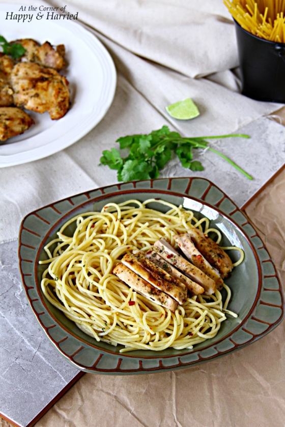 Garlic Butter Spaghetti Pasta & Herb Grilled Chicken