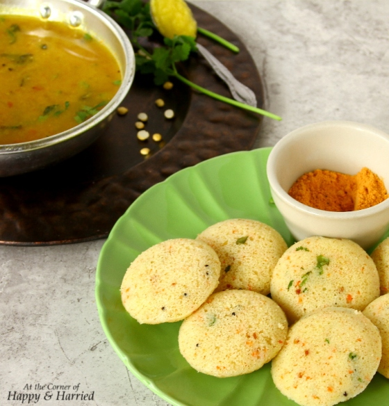 Instant Rava Idli and Tiffin Sambar Steamed Semolina Cakes and Soupy Lentil Curry