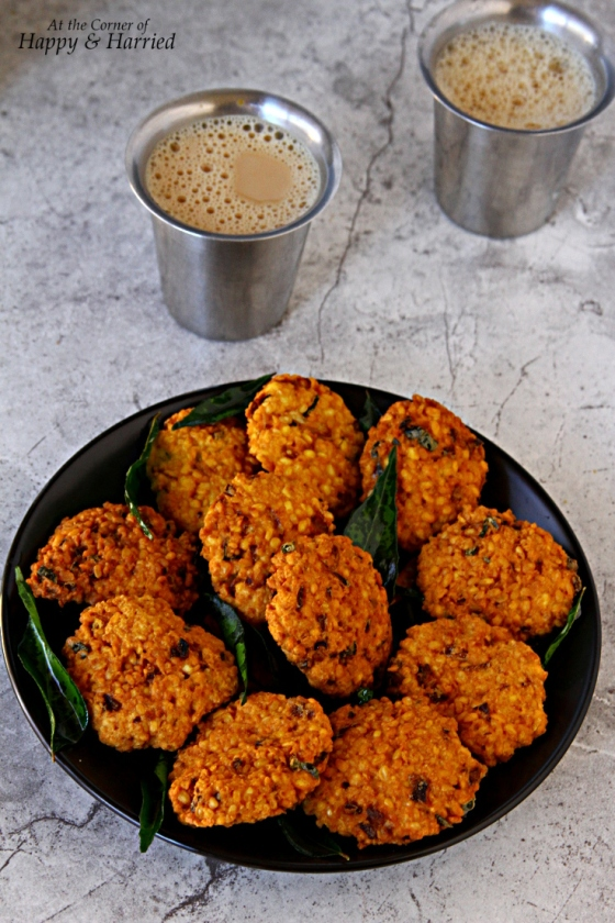 ... Parippu Vada And Elaichi Chai {Spicy Lentil Fritters And Cardamom Tea