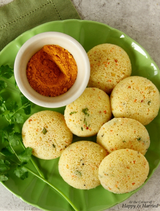 Rava Idli or Steamed Semolina Cakes and Chutney Podi