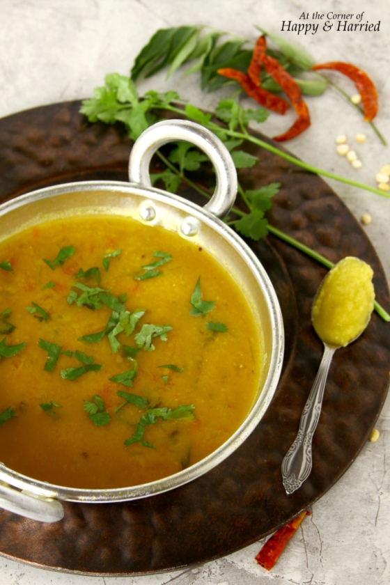 Tiffin Sambar {Indian Lentil Soup With Tadka and Ghee}