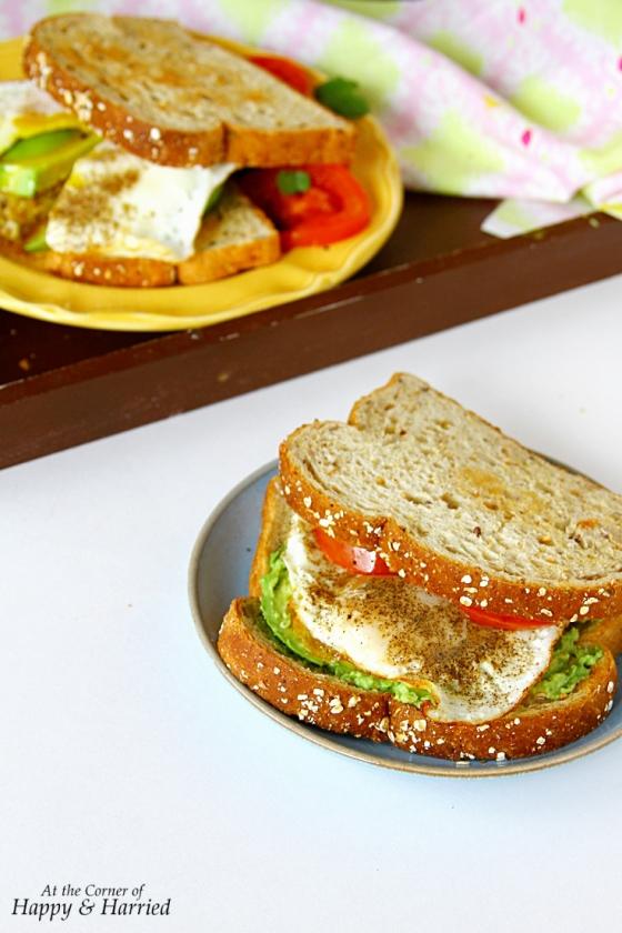 Fried Egg, Avocado & Charred Tomatoes Toast Sandwich