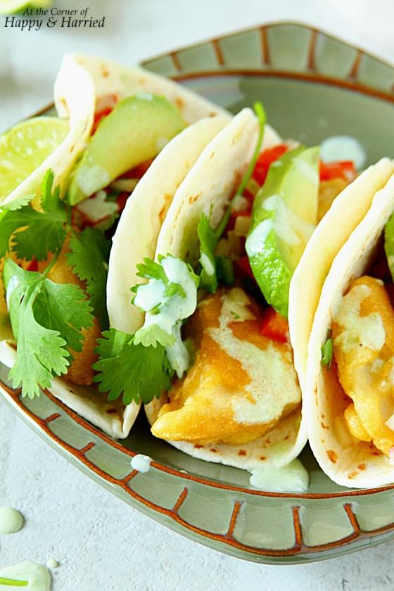 Crispy fish tacos with jalapeno sauce for Fish taco sauce yogurt