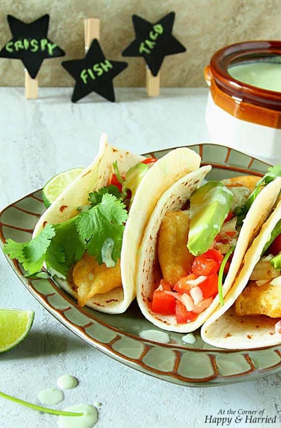 Fish tacos with jalapeno cilantro yogurt sauce for Fish taco sauce yogurt